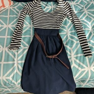 Striped and Navy Dress